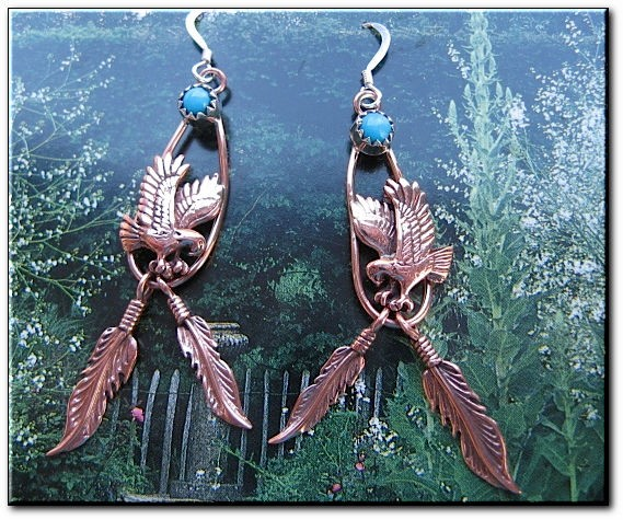 Copper Stone earrings  with  Turquoise  stones  CE42SL- 2 inches long.