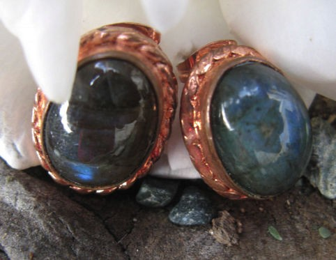 Copper Stud Earrings with Stones CE740