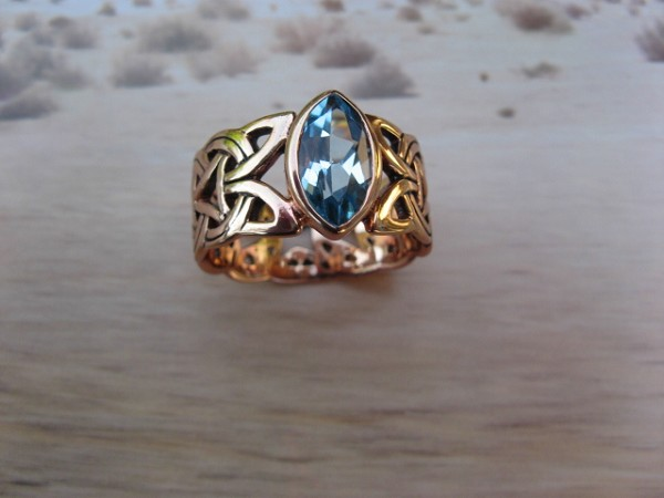 Solid Copper Celtic Blue Topaz Stone Band Size 7 Ring  #CRI574BT- 3/8 of an inch wide.