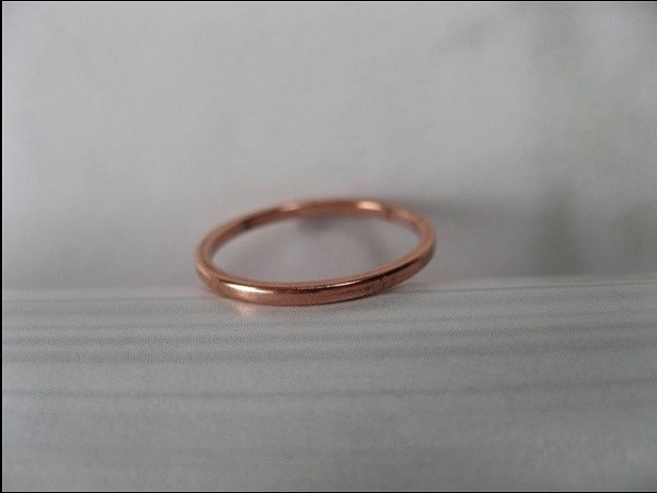 Solid Copper Band Ring CR40T - Size 8 - 1.5mm wide - 1/16 of an inch wide. Our Thinnest Design