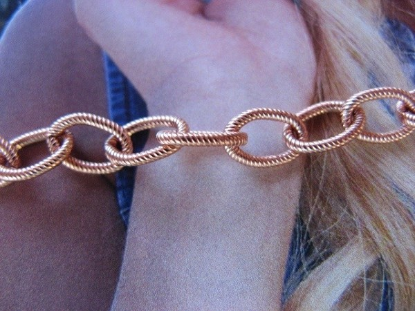 Ladies Solid Copper 8  Inch Bracelet CB621G - 3/16 of an inch wide
