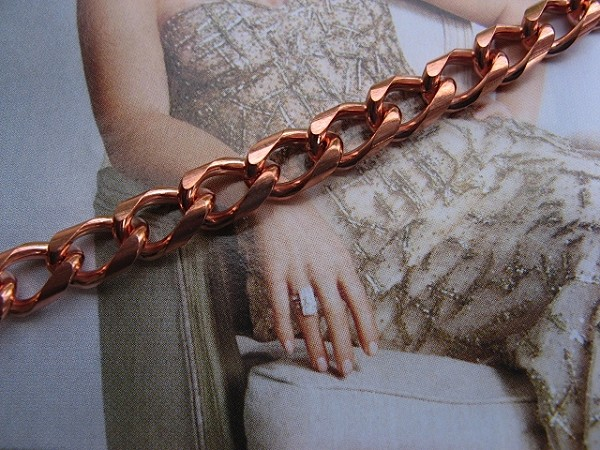 Ladies Solid Copper 8 Inch Bracelet CB702G - 1/4 of an inch wide