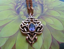 Solid Copper and  CZ Amethyst Stone Celtic Knot Pendant #CTP593