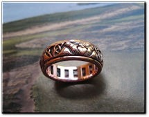 Solid Copper Celtic Claddagh  Spinner Band Size 10 Ring  #CTR1768  5/16 of an inch wide.