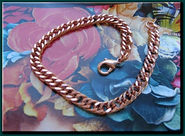 Ladies Solid Copper 8  Inch Bracelet CB652G - 1/4  of an inch wide