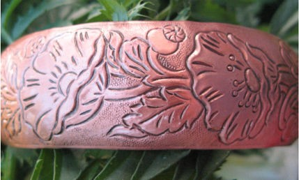 Women's 7 Inch Copper Cuff Bracelet CB4632C4D - 3/4 of an inch wide