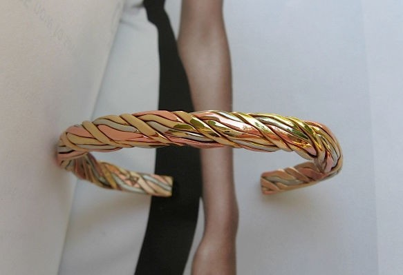 Women's 7 Inch Copper, Nickel And Brass Cuff Bracelet CB55M - 5/16 of an inch wide.