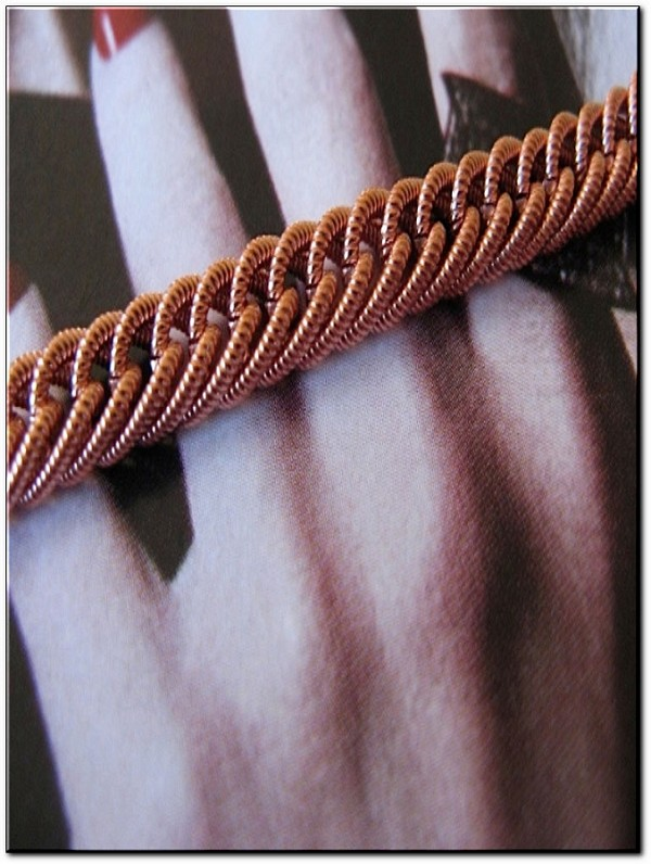 Ladies Solid Copper 7 Inch Bracelet CB631G - 3/16 of an inch wide