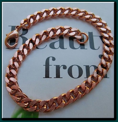 Men's 9 1/2 Inch Solid Copper Bracelet CB651G - 1/4 of an inch wide
