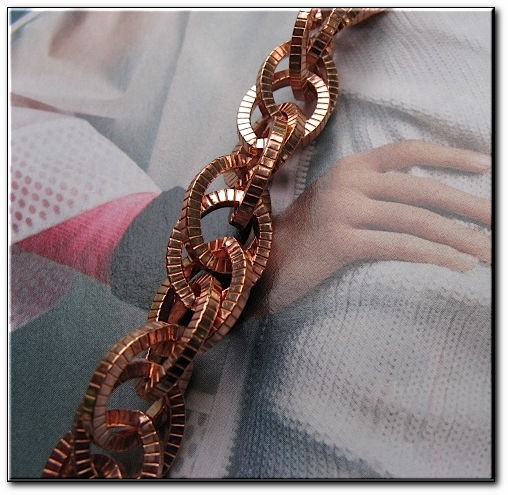 Ladies Solid Copper 7 Inch Bracelet CB688G - 1/2 an inch wide - Medium  weight.
