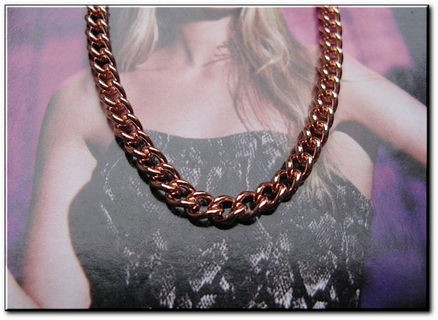 24 Inch Length Solid Copper Chain CN610G -  1/8 of an inch wide