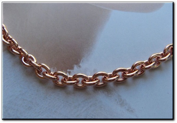 20 Inch Length Solid Copper Chain CN605G -  1/4 of an inch wide