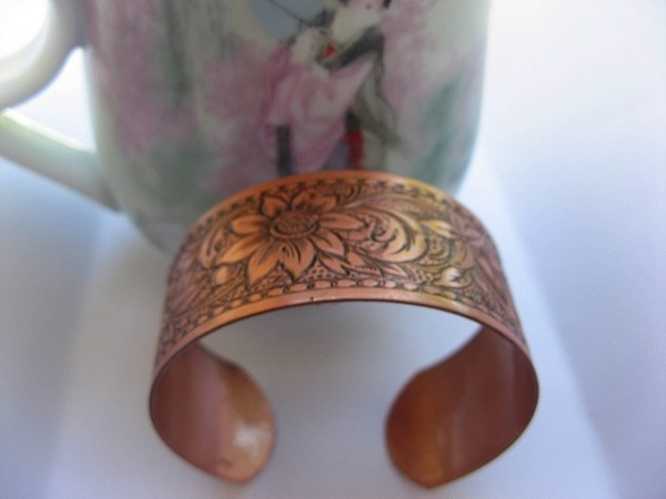 Women's 7 Inch Solid Copper Cuff Bracelet CB0651C2 - 1 inch wide.
