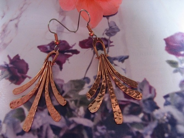 Solid Copper Earrings  CE264JL - 2 inches long.