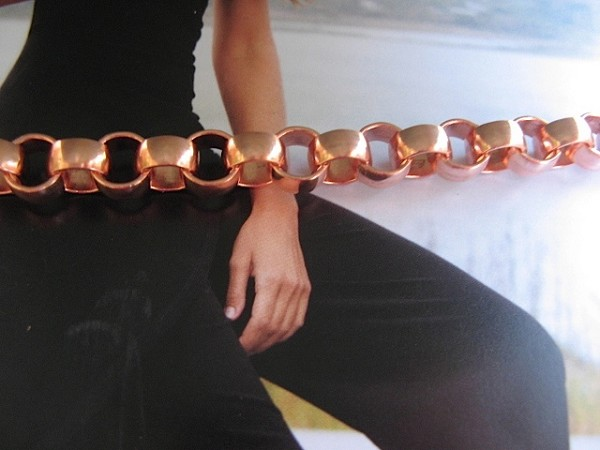 Ladies Solid Copper 6 1/2 Inch Bracelet CB705G - 5/16 of an inch wide
