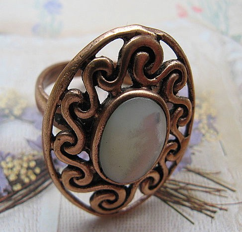 Copper Mother Of Pearl stone Ring CR2009 - Size 8 - 3/4 of an inch wide