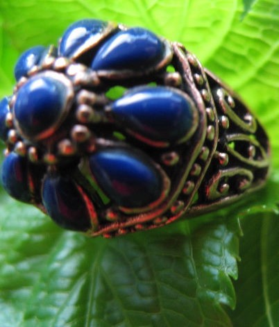 Copper Lapis  Stone Ring CR2195 - Size 9 1/2 - 1/2 inch wide.