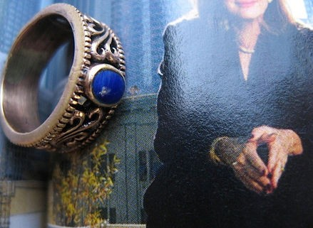 Copper Lapis  Ring CR2806 - Size 6 - 1/4 of an inch wide.