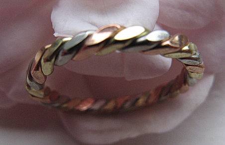 Copper Tri - Metal Ring CR5248L - Size 13 - 1/16 of an inch wide.- Very Thin