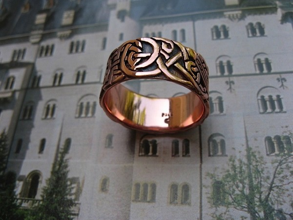 Solid copper Celtic Knot band Size 9 ring CRI1204 - 3/8 of an inch wide