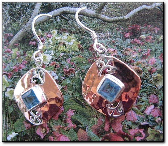 Copper Stone earrings  with Blue Topaz  stones  CE220VW - 3/4 of an inch long.