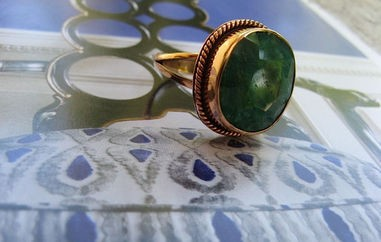 Copper Green Agate  Ring CR332AE - Size 9  - 5/8 of an inch wide