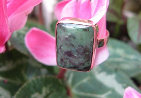 Copper Agate  Ring CR331AE - Size 9 - 1/2 an inch wide.
