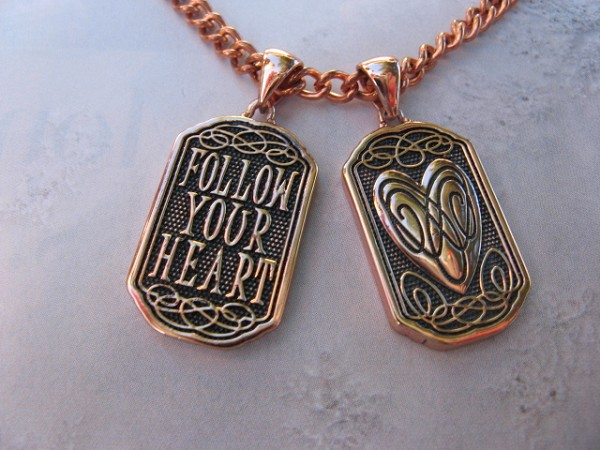 Copper Pendant and Chain Set #CPD2815 - One pendant - double sided as pictured.