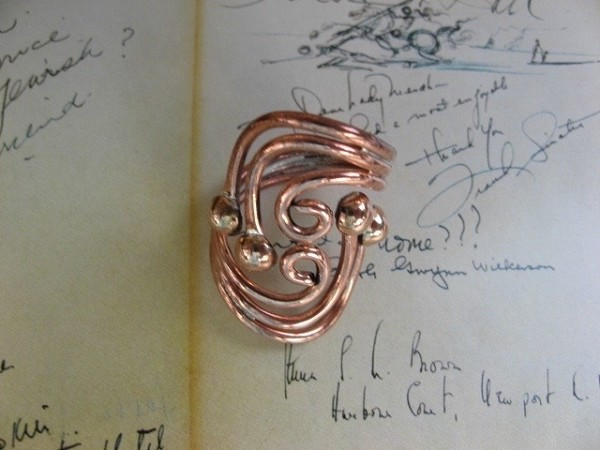 Copper Ring CR715 Size 8 - 1 1/8 inches long.