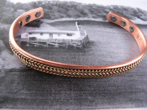 Men S 9 Inch Solid Copper Magnetic Cuff Bracelet Cbm920 3 8 Of An Wide