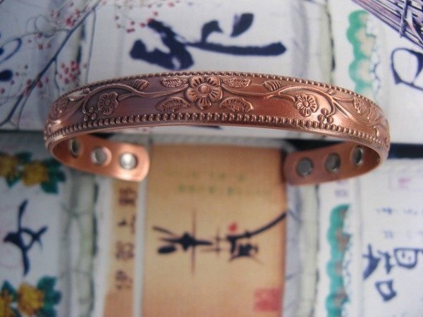 Ladies 7 Inch Solid Copper Magnetic Cuff Bracelet CBM821L-  5/16 of an inch wide.