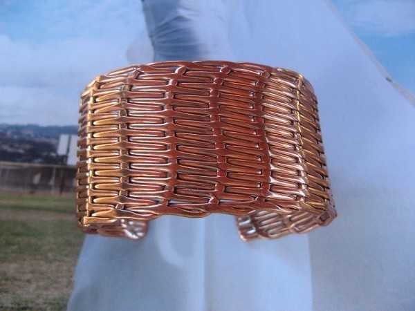 Women's 7 Inch Copper Cuff Bracelet CB43J - 1 1/2 inches wide.