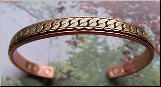 Men's 8 Inch Solid Copper Magnetic Cuff Bracelet CBM838 - 5/16 of an inch wide.
