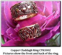 Solid copper Celtic Claddagh band Size 5 ring CTR1002 - 3/8 of an inch wide.