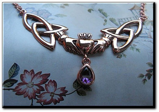 Solid Copper Celtic Claddagh Necklace with a CZ Amethyst stone #CTN260