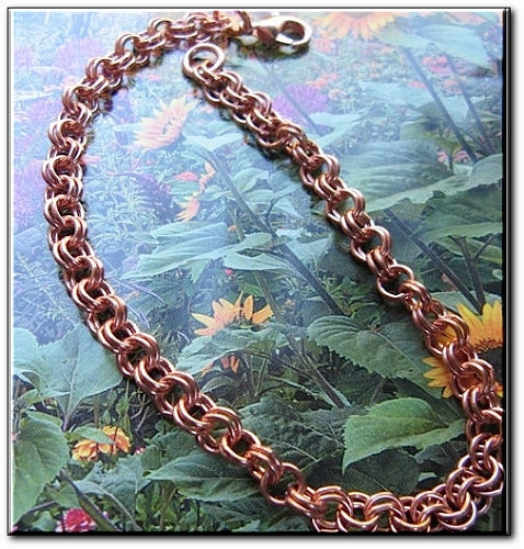 Ladies Solid Copper 7 1/2 Inch Bracelet CB656G - 3/16 of an inch wide