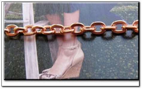 Solid Copper Anklet CA692G - 3/16 of an inch wide - Available in 8 to 12 inch lengths