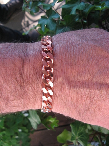 Men's 8 1/2 Inch Solid Copper Bracelet CB645G  - 7/16 of an inch wide
