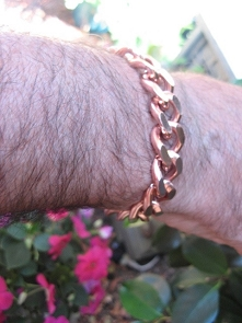 Men's 9 1/2 Inch Solid Copper Bracelet CB623G  - 7/16 of an inch wide.