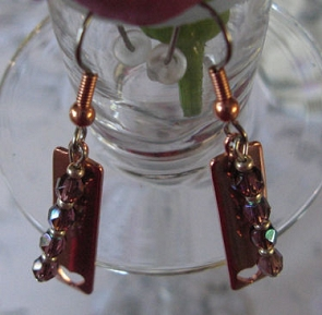Copper Bead earrings CE180 - 1 1/2 Inches long.