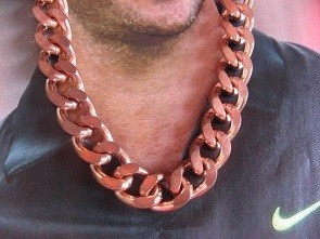 30 Inch Length Solid Copper Chain CN623G - 7/16 of an inch wide.