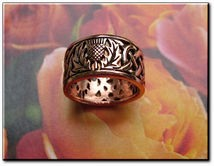 Solid copper Celtic Knot band Size 8 ring CTR3875 -7/16 of an inch wide.