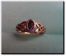 Solid Copper Celtic Amethyst Stone Band Size 5 Ring  #CTR934