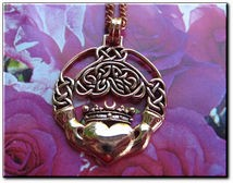Solid Copper Celtic Claddagh Pendant #CPD641