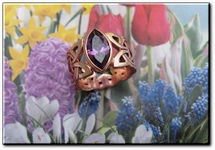 Solid Copper Celtic  Amethyst Stone Band Size 5 Ring  #CTR1574- 3/8 of an inch wide.
