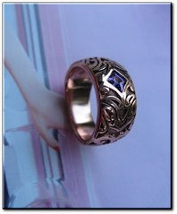 Solid Copper Celtic Genuine Amethyst Stone Band Size 6 Ring  #CTR1671- 3/8 of an inch wide.