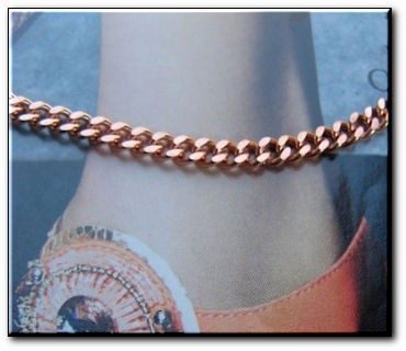 Solid Copper Anklet CA658G - 3/16 of an inch wide - Available in 8 to 12 inch lengths
