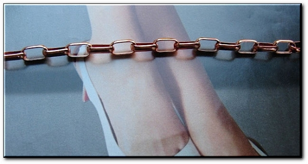 Solid Copper Anklet CA662G - 3/16 of an inch wide - Available in 8 to 12 inch lengths