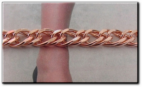 Solid Copper Anklet CA668G - 3/8 of an inch wide - Available in 8 to 12 inch lengths