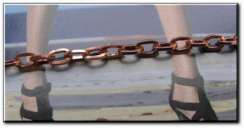 Solid Copper Anklet CA680G - 1/4 of an inch wide - Available in 8 to 12 inch lengths